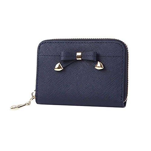 Womens Ribbon Zip Around Genuine Leather Credit Card Case Organizer Compact Wallet Purse Navy by jnjstella
