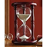 Lily's Home 15-Minute Hourglass Sand Timer with Cherry Finished Wood Base, Stylish Centerpiece for Home or Office Use, Ideal Gift for Executive, Chef or Kitchen Connoisseur (9.5'' Tall x 6'' Dia. Base)