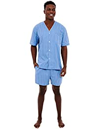 Mens Cotton Pajamas, Short V-Neck Woven Pj Set