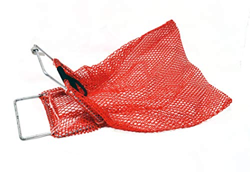 Mesh Catch Bag w/Galvanized Wire Handle with D-Ring- Nylon Scuba Dive Bag - Game Bag/Fish Bag for Diving & Snorkeling - Net Bag for Clams, Shells and Collecting 10-inch x 15-inch Orange