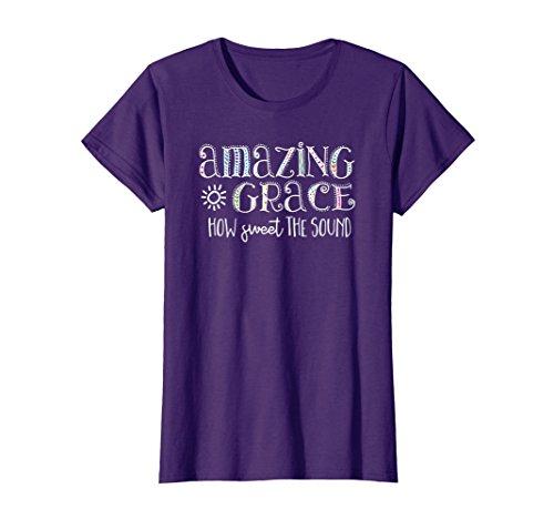 Womens Amazing Grace T Shirt Medium Purple