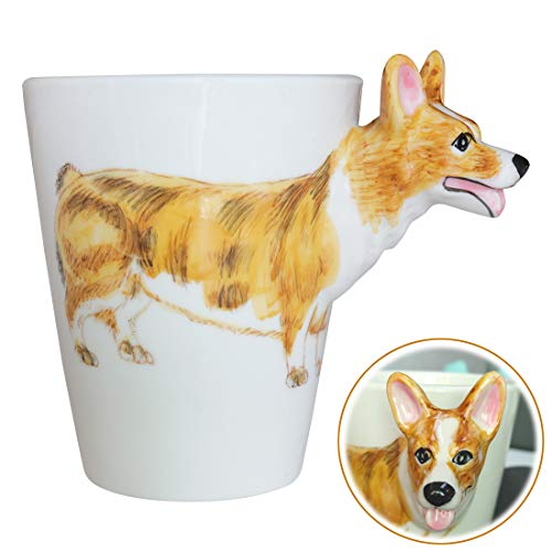 WEY&FLY 3D Coffee Dog Mug, Animals Personalized Tea Cup, Creative Hand Painted 3D Dog Mug, Gift for Lovers Kids Friends (Pembroke Welsh Corgi) ()