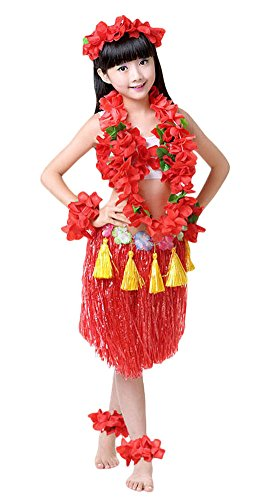 Fighting to Achieve Girls Hawaiian Hula Set with Tassels 8pcs -