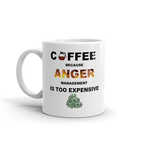 Coffee Because Anger Management Is Too Expensive Funny Novelty Humor 11oz White Ceramic Coffee Mug (Anger Management Coffee Mug)