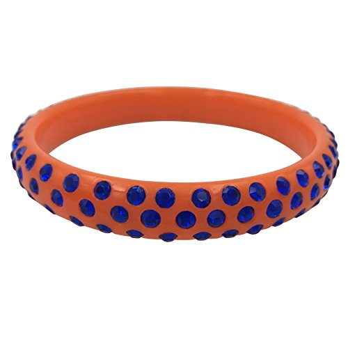 Gypsy Jewels Multi Color Resin with Rhinestones Bangle Bracelet (Blue on Orange) from Gypsy Jewels