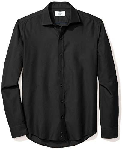 BUTTONED DOWN Men's Slim Fit Supima Cotton Spread-Collar Textured Dress Casual Shirt, Black, XL 36/37