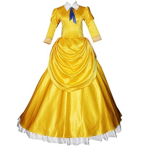 AGLAYOUPIN Adult Women Princess Costume Yellow Dress