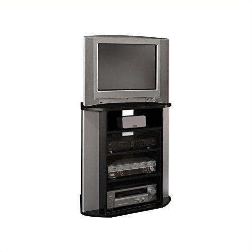 Bush Furniture Glass Tv Stand (Visions Tall Corner TV Stand in Black and Metallic)
