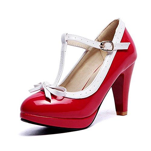 Balamasa Mesdames Avec Nœud En Métal Couleurs Assorties Brevet Cuir Pumps-shoes Red