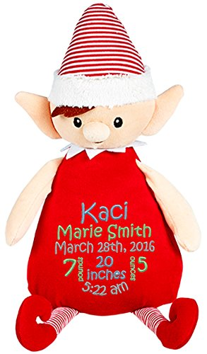 Personalized Stuffed Christmas Elf with Embroidered Baby ...