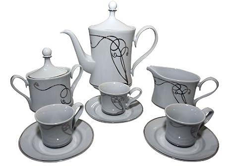 Santa Clara Juego café, Porcelana, Blanco y Plata, 31.5x24x41 cm: Amazon.es: Hogar