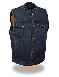 Men's Riders HIGH Neck SONS Anarchy Blue Black Denim Club Vest Gun Pocket