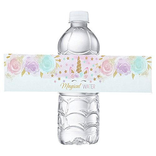 Happy Birthday Water (Unicorn Bottle Wraps-Happy Birthday Water Bottle Label Rainbow Unicorn Themed Party Favors, Set of 24 Waterproof Stickers)