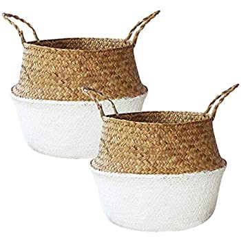 ZTWEY Foldable Flower Basket (2Pack) Household Decorative Flower Basket Toys Laundry Storage Bin Foldable Woven Straw Basket, Pot Basket with Handle-Natural Color(Large)