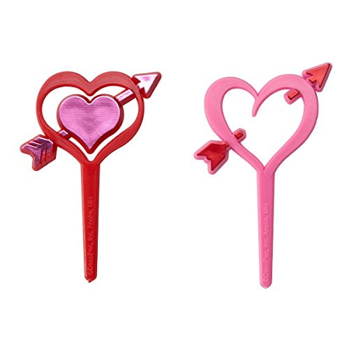 A1 Bakery Supplies Valentine's Day Heart Arrows Cupcake Picks - 24 pc