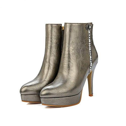 AgooLar Damen Niedrig-Spitze Eingelegt Reißverschluss Hoher Absatz Stiefel mit Anhänger, Schwarz, 40