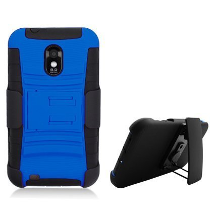 Rhino Kickstand Double Layer Rhino Hard Hybrid Gel Case With Holster Cover For Samsung Galaxy S2 Epic Touch D710-Blue, Black (S2 Phone Cover Samsung Galaxy)
