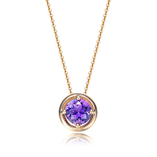 Carleen Solid 14K Yellow Gold Birthday Round Gemstone February Solitaire Amethyst Birthstone Necklace Pendant Delicate Dainty Fine Jewelry Women Girl, 18 inch -