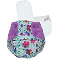 Superbottoms Cloth Diapers Plus UNO Reusable All in One Diaper with 2 Organic Cotton Soakers and Dry Feel - Periwinkle
