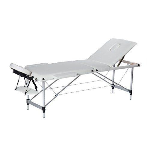 Homgrace Portable Massage Table 3 Fold Aluminum Alloy Frame for Facial SPA Bed/SPA Therapy/Beauty Salon (White)
