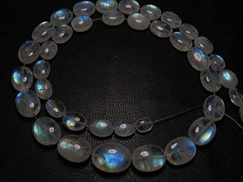 Jewel Beads Gems-Jewellery Awesome - AAAA - High Quality So Gorgeous - Rainbow MOONSTONE - Smooth Oval Briolett Blue Fire size 5-11 mm - 14 Inches