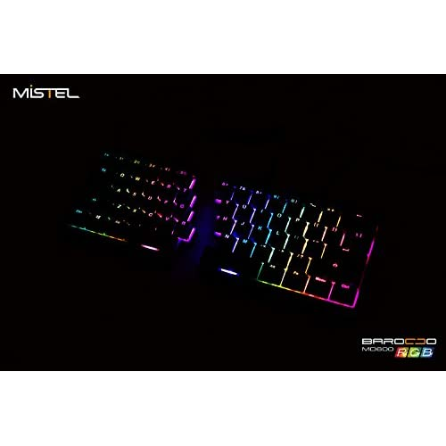 1d81d023390 durable modeling Mistel Barocco Ergonomic Split PBT RGB Mechanical Keyboard  with Cherry MX Nature Switches,