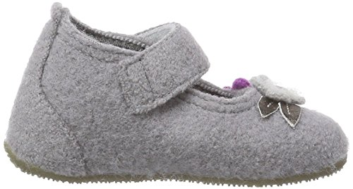 Living Kitzbühel Babyballerina Eule - pantuflas de aprendizaje de lana Bebé-Niños gris - Grau (630 frost grey)