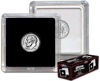 NEW BCW 2X2 COIN SNAP – DIME – BLACK – PACK OF 25