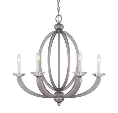 Savoy House 1-1551-6-307 Forum 6 Light Chandelier with No Shades, Silver Sparkle Finish