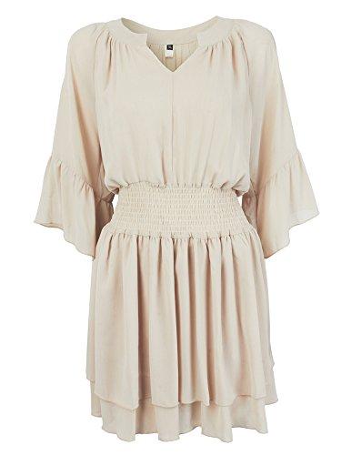 Volants Occasionnels Mousseline De Soie Hors Mini Robe Taille Stretch Épaule Pour Les Femmes Beige