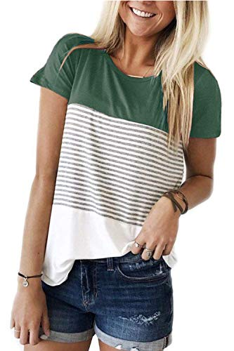 - ALIBIZIA Women's Summer Crew Neck Triple Color Block Stripe T-Shirt Top L Green