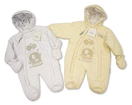 Baby Snowsuit Pramsuit Winter Overall - 'Elephant' - Unisex Cream or White - Sizes 0-3 and 3-6 Months/White, 3-6 Sheldon International