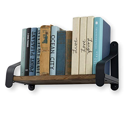 Rustico Floating Wall Bookshelf Reclaimed Wood Farmhouse Shelving with Iron Brackets 16 Inch