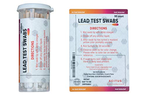 Scitus Lead Test Kit with 30 Testing Swabs | Rapid Test Results in 30 Seconds | Just Dip In White Vinegar To Use | Lead Testing Kits for Home Use | Reagent Lead Check Suitable for All Painted Surfaces ()