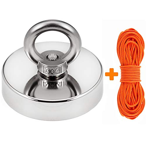 Super Strong Fishing Magnet | 400 lbs Pulling Force Rare Earth Neodymium Magnet with Countersunk Hole and Eyebolt | Diameter 2.36 inch (60mm) with 100 feet Rope | for River and Magnetic Fishing