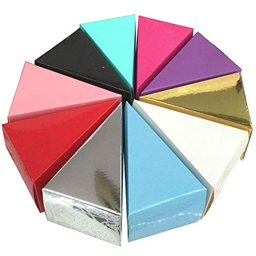25 Pcs Triangle Cake Shape Candy Boxes Chocolate Cake Candy Gift Box Party Favors for Wedding, Birthday and Party (Random Color) (Large)