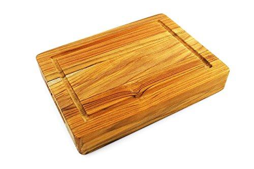 Small Board Cutting 9x12 - Terra Teak Bar Board, Small Wood Cutting Board with Groove - 12 x 9 x 2 Inch ...