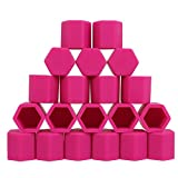 19mm-PINK Silicone Car Wheel Hub Lugs Nuts Bolts Cover Protective Cap Dust Protective Tyre Valve Screw Cap Cover(20pcs/Set)