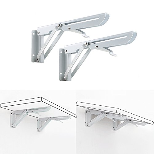 Anpatio Folding Shelf Bracket Wall Mounted Table Bench Support Brackets 90 Degrees Heavy Duty Shelf Hinges with Screws Max Load 132lb for Kitchen Cabinet White Metal Triangular Set of 2 ()