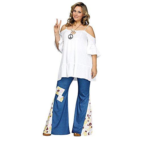 Denim Dress Costume (Flower Child Bell Bottoms Adult Costume Denim Print - Plus Size 1X)