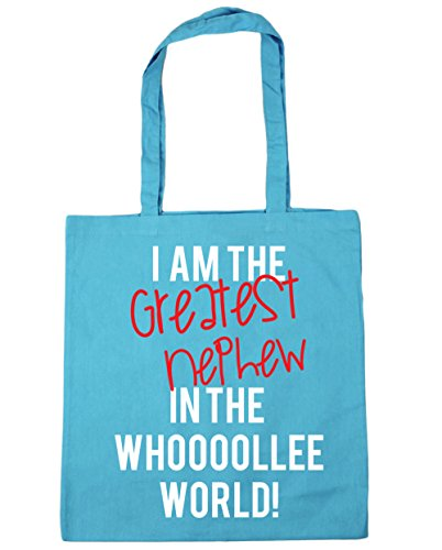HippoWarehouse I AM THE GREATEST sobrino en el mundo whooooollee. Bolsa de la compra bolsa de playa 42cm x38cm, 10litros azul (Surf Blue)