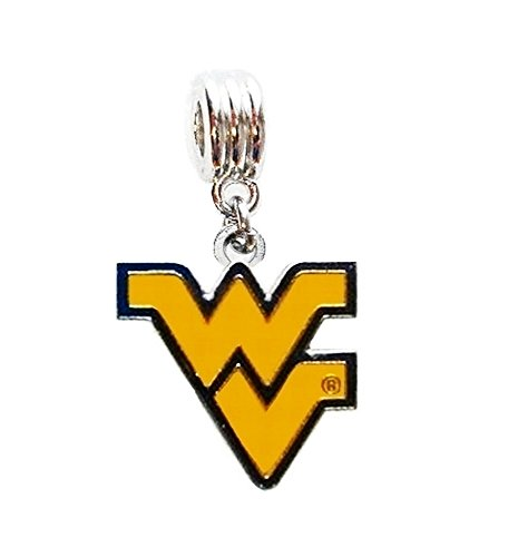 Heavens Jewelry WVU WEST Virginia University Mountaineers Team Charm Slide Pendant for Necklace European Charm Bracelet (Fits Most Name Brands) DIY -