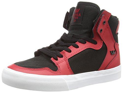 Supra Kids Vaider Red/Black White Skate Shoe 4.5 Kids US