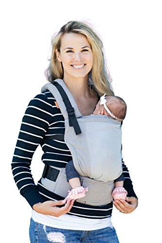 Baby Tula Free-to-Grow Coast Mesh Baby Carrier 7-45 lb, Adjustable Newborn to Toddler Carrier, Ergonomic Inward Front and Back Carry, Lightweight – Coast Overcast, Light Gray with Light Gray Mesh