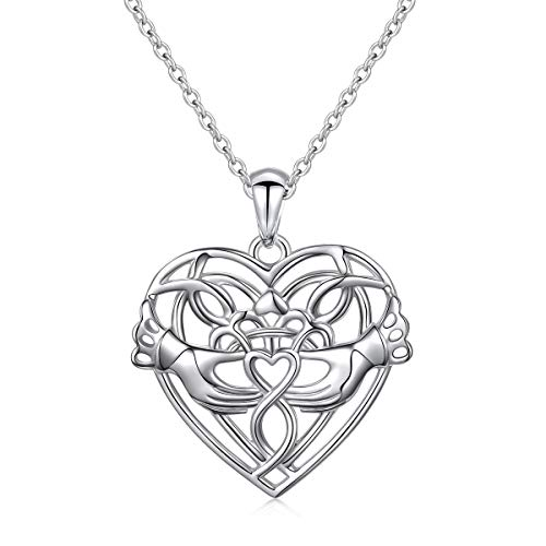 Sterling Silver Forever Love Infinity Celtic Claddagh Love Heart Necklace Women Sister Lover Gift