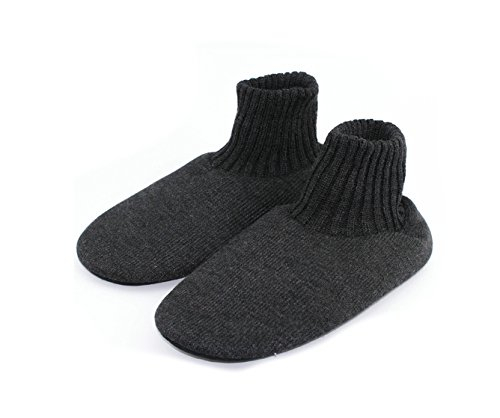 Men Knitted Non-Slip Slippers Warm Cotton Socks Indoor Slippers (Black)