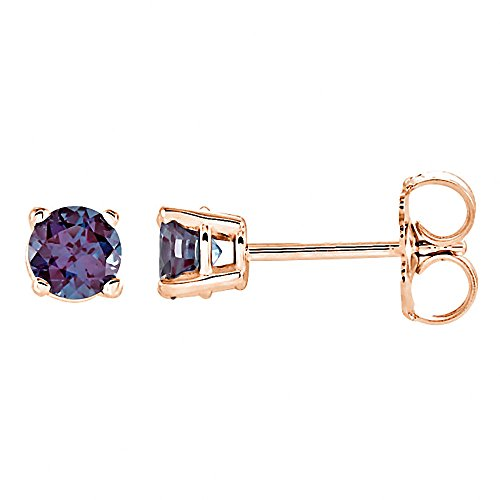Prong Set 5.0mm 1.0 cttw Full Color Change Chatham Created Alexandrite Stud Earrings 14K Rose Gold (Gold Chatham Alexandrite Ring)
