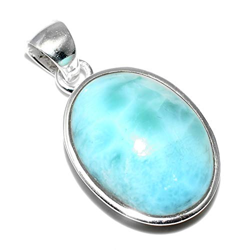 Silver Palace Sterling Silver Natural Larimar Pendants for Women and Girls