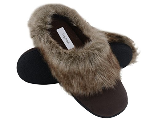 Vonmay Women's Faux Suede Fur Slip On Memory Foam Clog House Slippers Indoor / Outdoor (7-8 B(M) US, Coffee)
