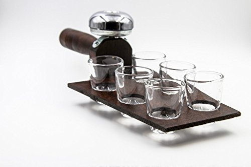 Handmade Wooden Shot Tray - Includes Set of 6 Shot Glasses - Made in Michigan
